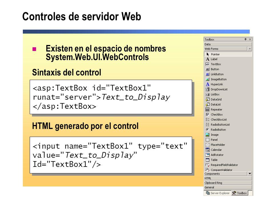 Controles de servidor Web Existen en el espacio de nombres System.Web.UI.WebControls Sintaxis del control HTML generado por el control <asp:TextBox id