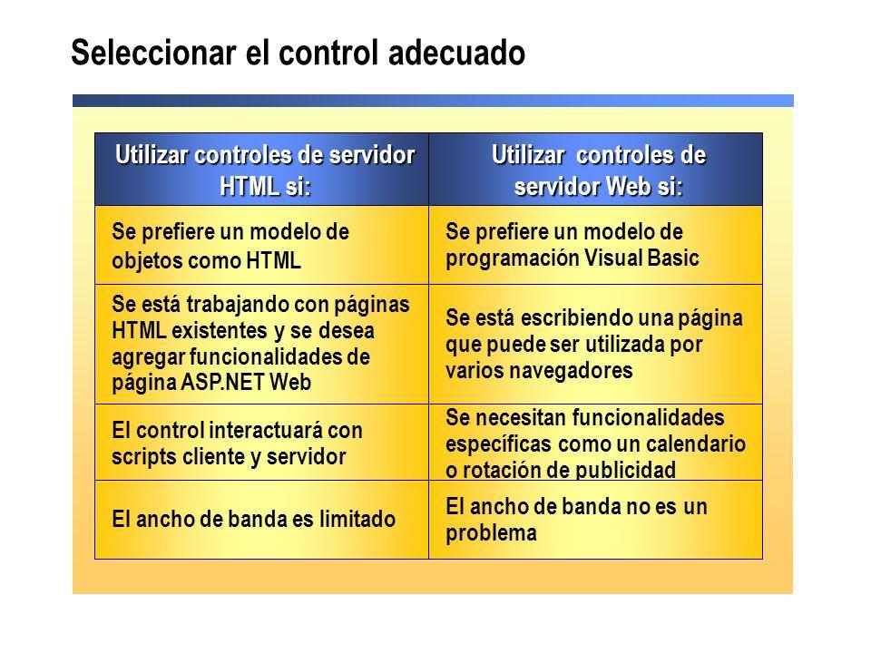 Se necesitan funcionalidades específicas como un calendario o rotación de publicidad El control interactuará con scripts cliente y servidor Se está es