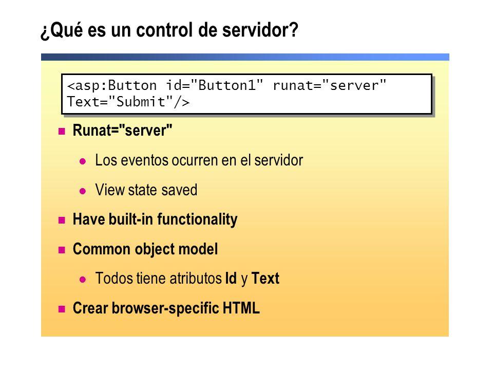 Tipos de controles de servidor Controles de servidor HTML Controles de servidor Web Controles intrínsecos Controles de validación Controles ricos Controles List-bound Controles Web de Internet Explorer