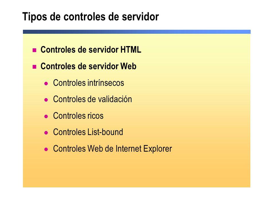 Tipos de controles de servidor Controles de servidor HTML Controles de servidor Web Controles intrínsecos Controles de validación Controles ricos Cont