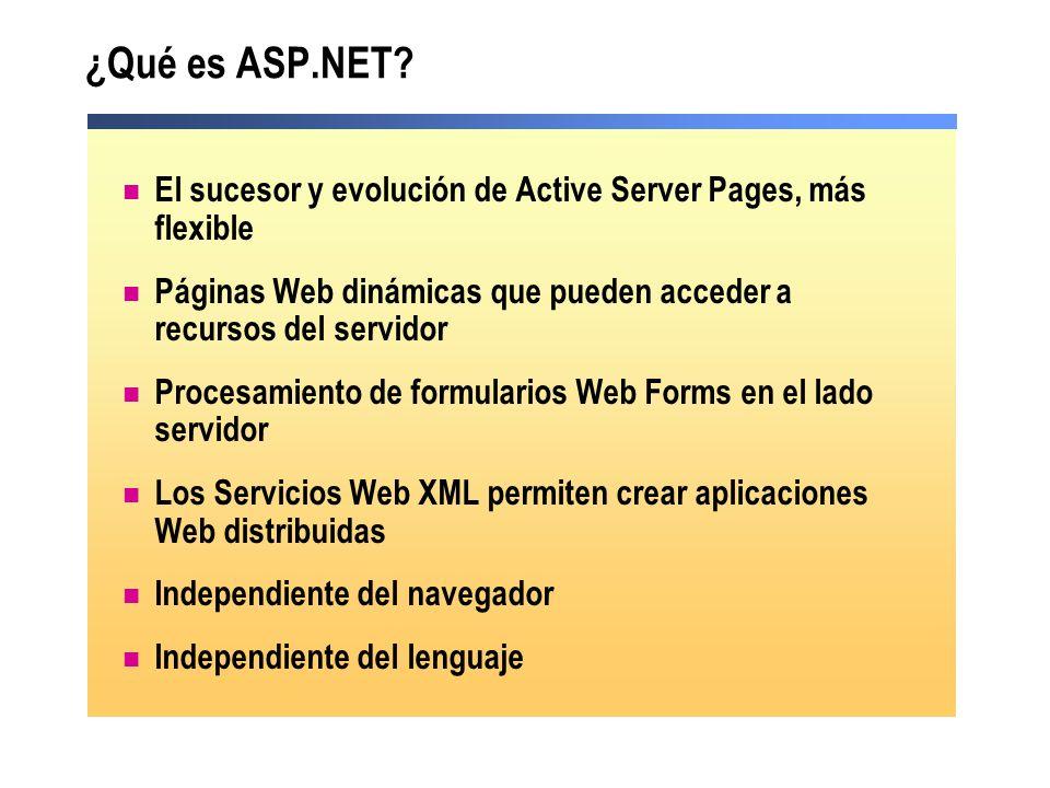 ¿Qué es ASP.NET? El sucesor y evolución de Active Server Pages, más flexible Páginas Web dinámicas que pueden acceder a recursos del servidor Procesam