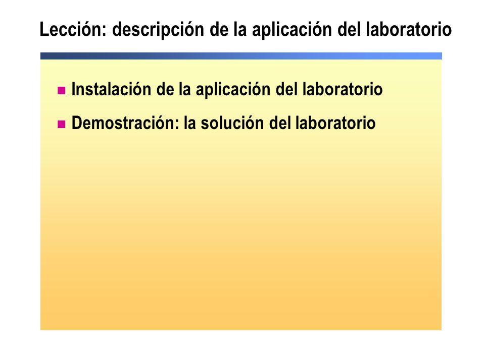 Lección: descripción de la aplicación del laboratorio Instalación de la aplicación del laboratorio Demostración: la solución del laboratorio