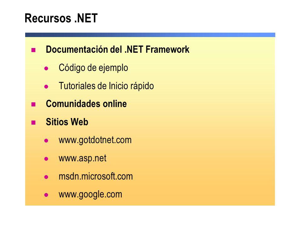 Documentación del.NET Framework Código de ejemplo Tutoriales de Inicio rápido Comunidades online Sitios Web www.gotdotnet.com www.asp.net msdn.microso