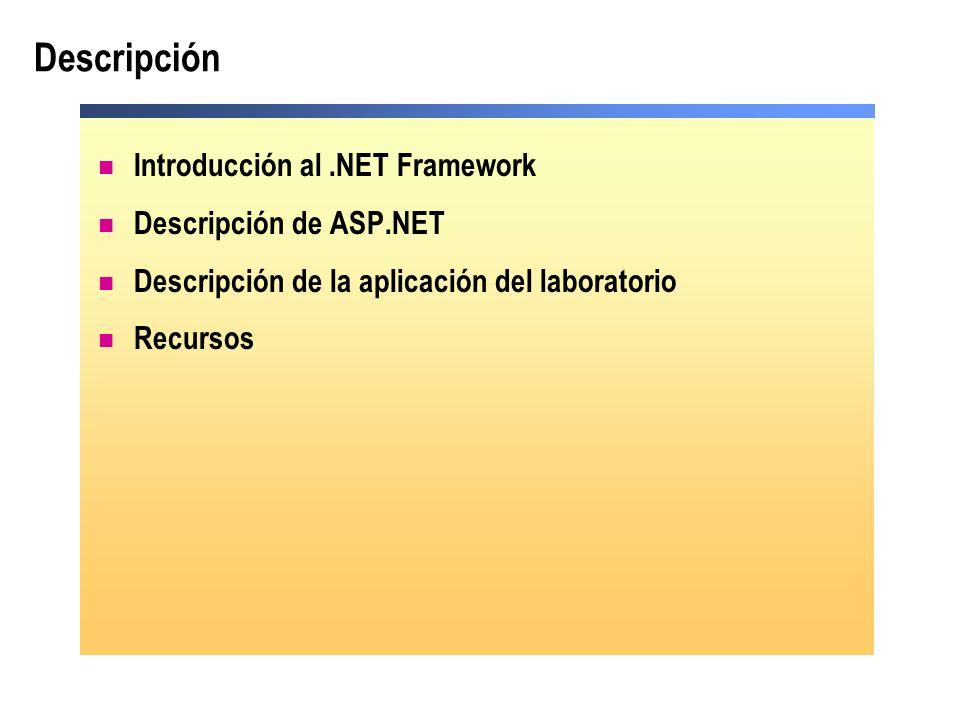 Descripción Introducción al.NET Framework Descripción de ASP.NET Descripción de la aplicación del laboratorio Recursos