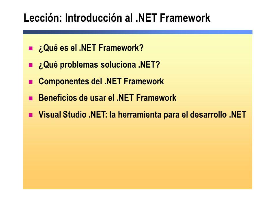 ¿Qué es el.NET Framework? ¿Qué problemas soluciona.NET? Componentes del.NET Framework Beneficios de usar el.NET Framework Visual Studio.NET: la herram