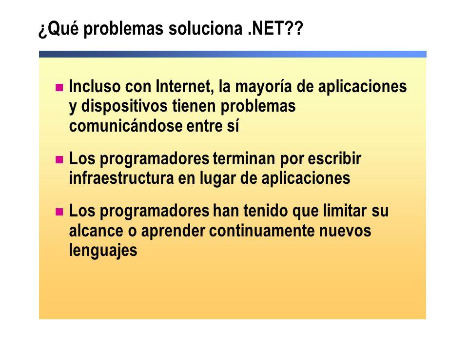 Componentes del.NET Framework Win32 MessageQueuingCOM+ (Transacciones, Particiones, Agrupación de objetos) IISWMI Common Language Runtime Biblioteca de clases de.NET Framework ADO.NET y XML Servicios Web XML Interfaz de usuario Visual Basic C++C# ASP.NET PerlPython…