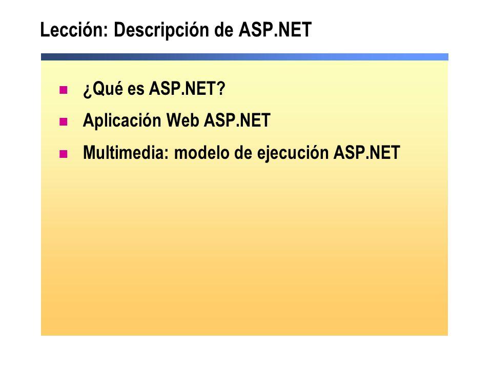 Lección: Descripción de ASP.NET ¿Qué es ASP.NET? Aplicación Web ASP.NET Multimedia: modelo de ejecución ASP.NET