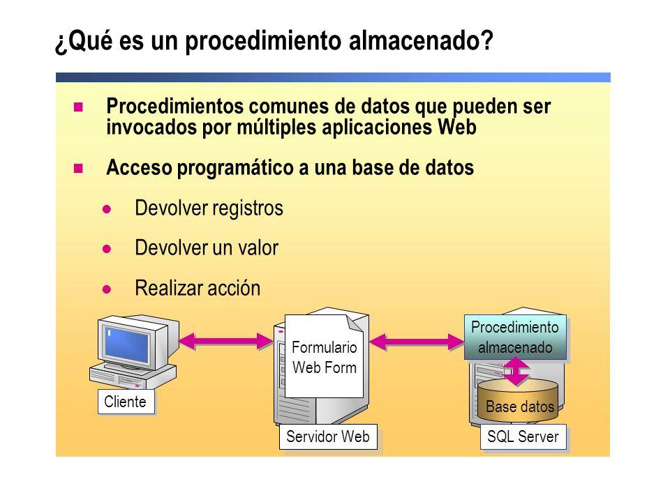 ¿Qué es un procedimiento almacenado? Procedimientos comunes de datos que pueden ser invocados por múltiples aplicaciones Web Acceso programático a una