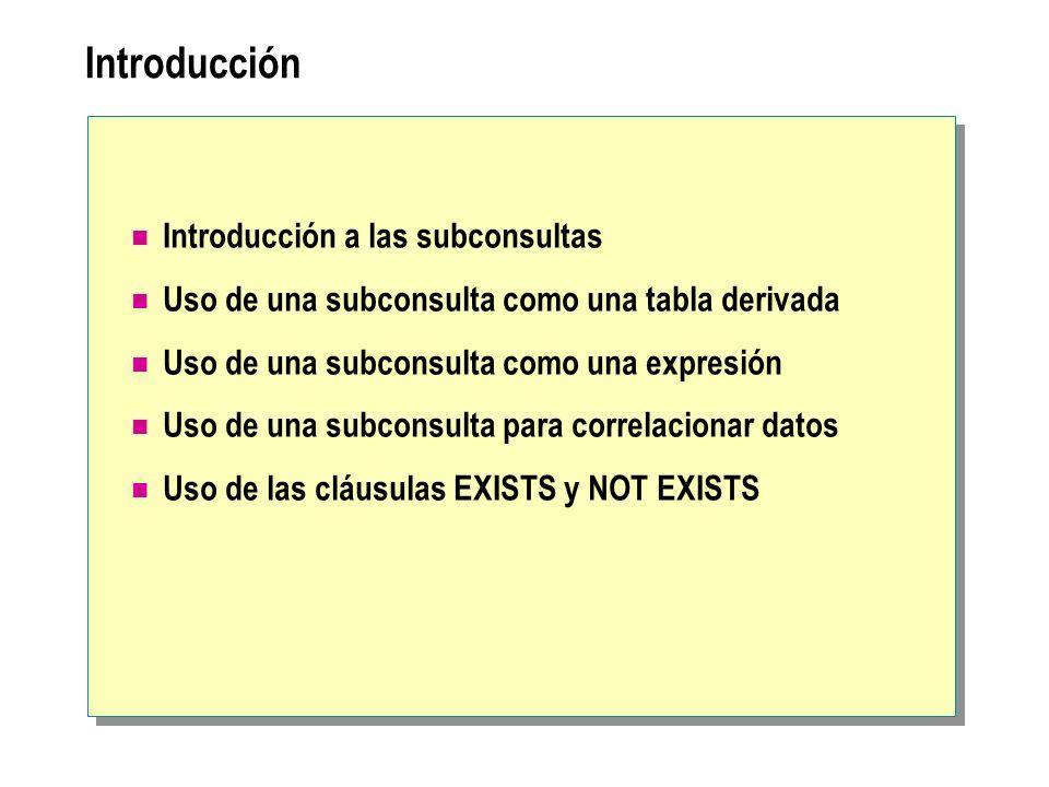 Introducción Introducción a las subconsultas Uso de una subconsulta como una tabla derivada Uso de una subconsulta como una expresión Uso de una subco