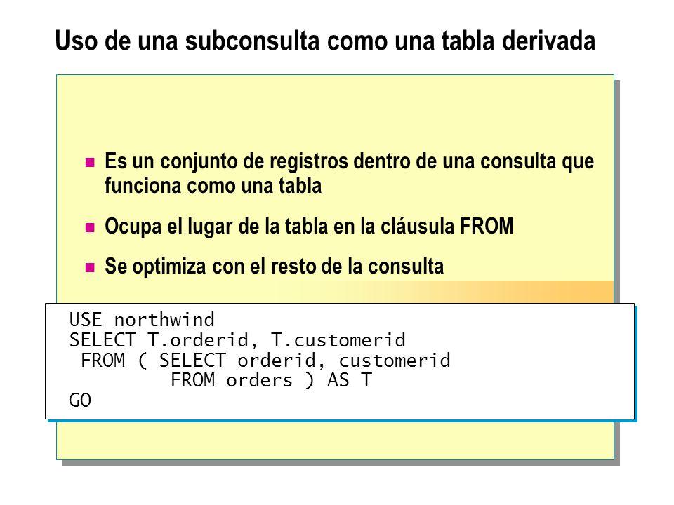 Uso de una subconsulta como una tabla derivada Es un conjunto de registros dentro de una consulta que funciona como una tabla Ocupa el lugar de la tab
