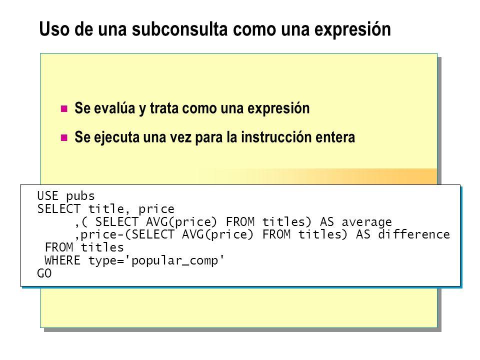 Uso de una subconsulta como una expresión Se evalúa y trata como una expresión Se ejecuta una vez para la instrucción entera USE pubs SELECT title, pr