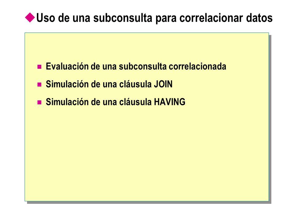 Uso de una subconsulta para correlacionar datos Evaluación de una subconsulta correlacionada Simulación de una cláusula JOIN Simulación de una cláusul