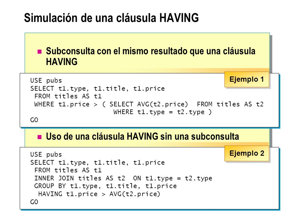 Uso de una subconsulta correlacionada en una cláusula HAVING Uso de una subconsulta correlacionada en una cláusula HAVING de una consulta externa USE pubs SELECT t1.type FROM titles t1 GROUP BY t1.type HAVING MAX(t1.advance) >= ALL (SELECT 2 * AVG(t2.advance) FROM titles t2 WHERE t1.type = t2.type) USE pubs SELECT t1.type FROM titles t1 GROUP BY t1.type HAVING MAX(t1.advance) >= ALL (SELECT 2 * AVG(t2.advance) FROM titles t2 WHERE t1.type = t2.type)