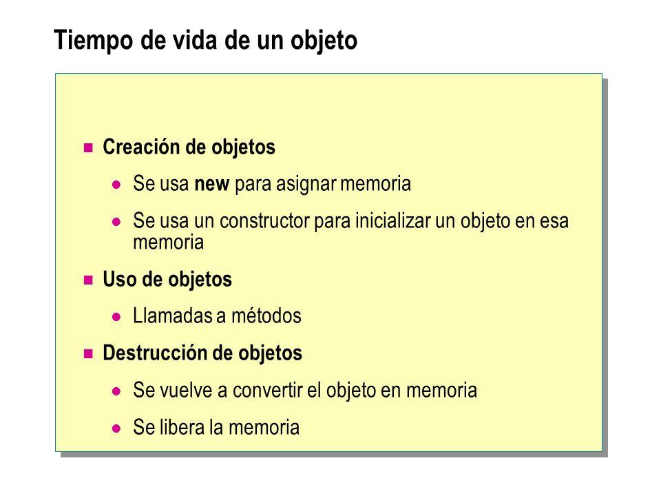 Tiempo de vida de un objeto Creación de objetos Se usa new para asignar memoria Se usa un constructor para inicializar un objeto en esa memoria Uso de