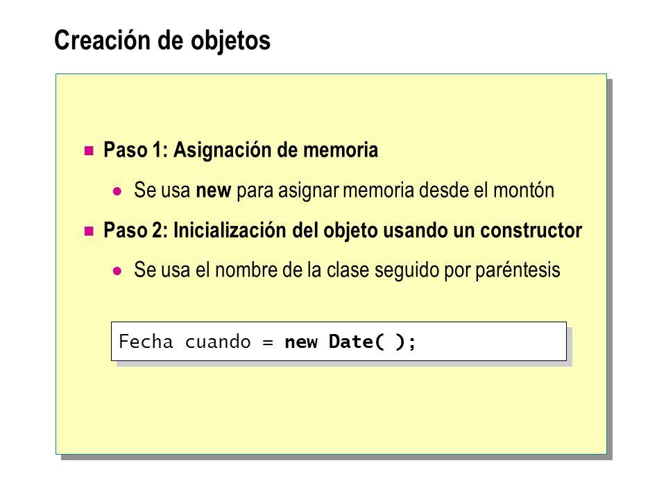 Creación de objetos Paso 1: Asignación de memoria Se usa new para asignar memoria desde el montón Paso 2: Inicialización del objeto usando un construc