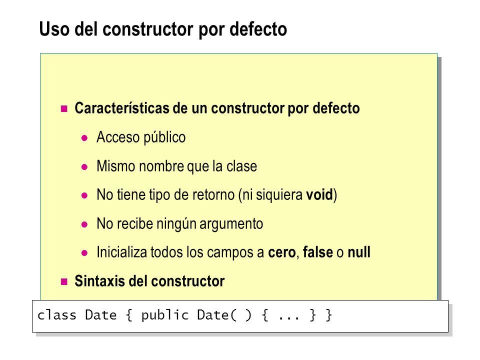Uso del constructor por defecto Características de un constructor por defecto Acceso público Mismo nombre que la clase No tiene tipo de retorno (ni si