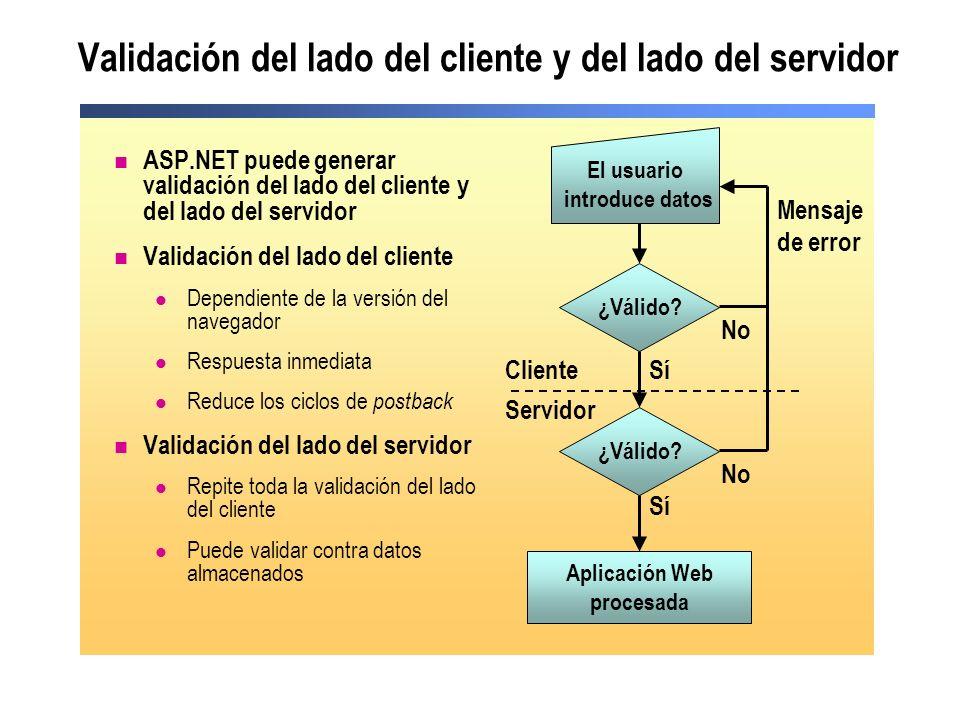 Controles de validación ASP.NET ASP.NET proporciona controles de validación para: Comparar valores Comparar con una fórmula personalizada Comparar con un intervalo Comparar con un modelo de expresión habitual Requerir entrada de datos por parte del usuario Resumir los controles de validación de una página