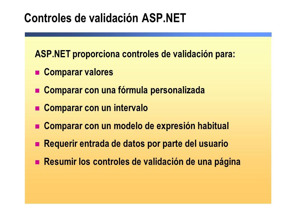 Controles de validación ASP.NET ASP.NET proporciona controles de validación para: Comparar valores Comparar con una fórmula personalizada Comparar con