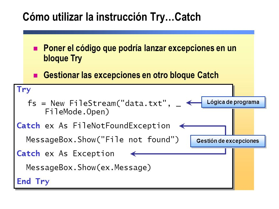 Cómo utilizar la instrucción Try…Catch Poner el código que podría lanzar excepciones en un bloque Try Gestionar las excepciones en otro bloque Catch Try fs = New FileStream( data.txt , _ FileMode.Open) Catch ex As FileNotFoundException MessageBox.Show( File not found ) Catch ex As Exception MessageBox.Show(ex.Message) End Try Try fs = New FileStream( data.txt , _ FileMode.Open) Catch ex As FileNotFoundException MessageBox.Show( File not found ) Catch ex As Exception MessageBox.Show(ex.Message) End Try Lógica de programa Gestión de excepciones