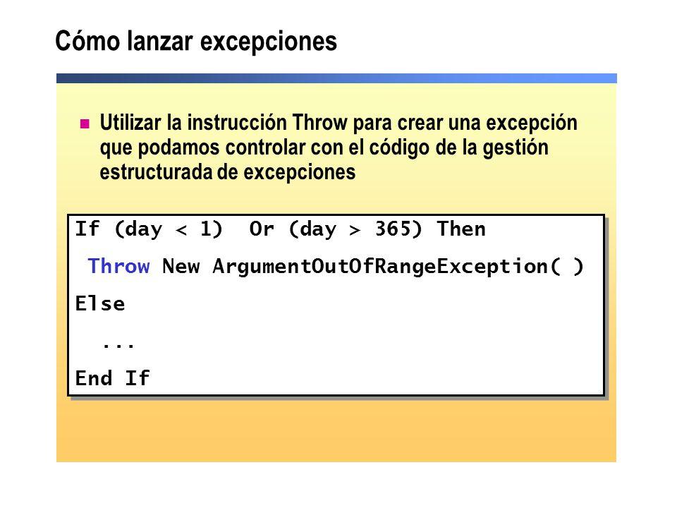 Cómo lanzar excepciones Utilizar la instrucción Throw para crear una excepción que podamos controlar con el código de la gestión estructurada de excepciones If (day 365) Then Throw New ArgumentOutOfRangeException( ) Else...