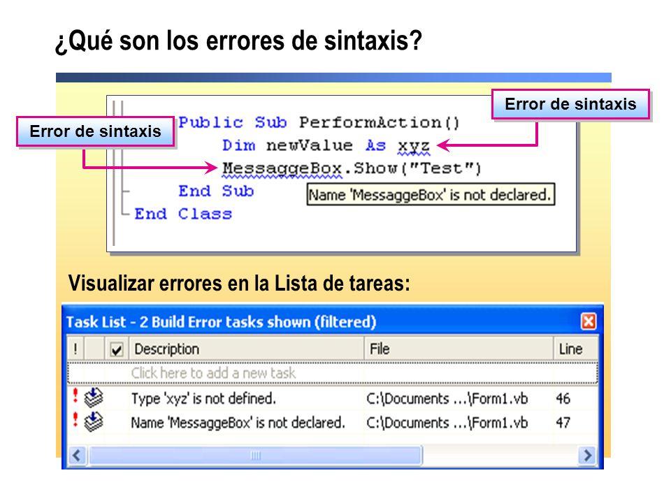 ¿Qué son los errores de sintaxis? Visualizar errores en la Lista de tareas: Error de sintaxis
