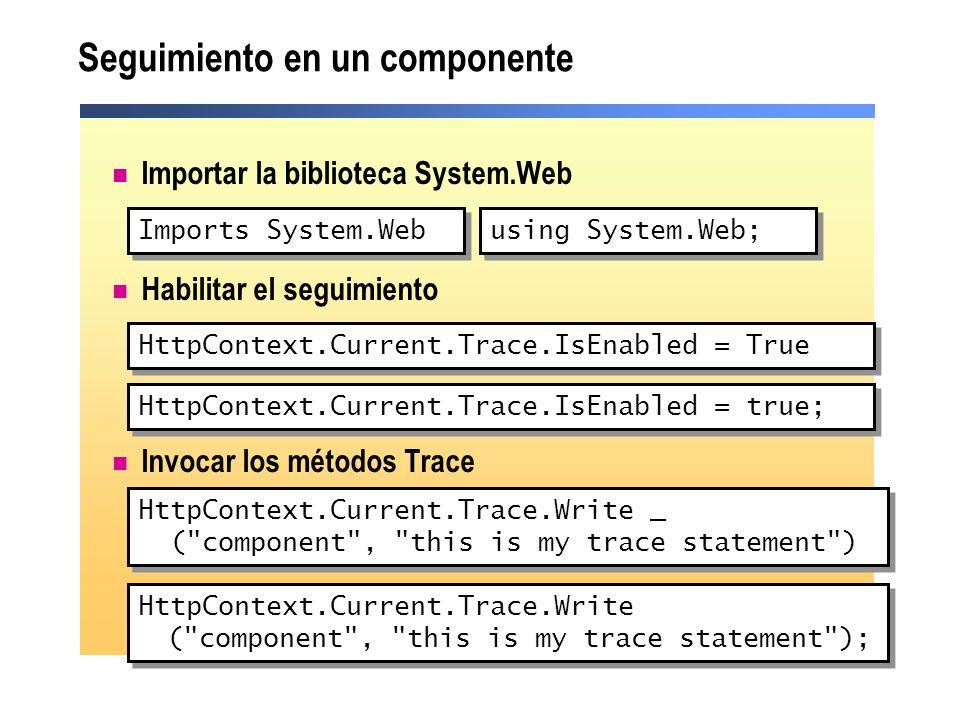 Seguimiento en un componente Importar la biblioteca System.Web Habilitar el seguimiento Invocar los métodos Trace HttpContext.Current.Trace.IsEnabled