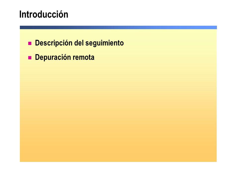 Descripción del seguimiento Información en tiempo de ejecución Habilitar el seguimiento Uso del objeto Trace Visualizar los resultados de seguimiento Uso del seguimiento a nivel de aplicación Demostración: seguimiento en una aplicación Web Seguimiento en un componente