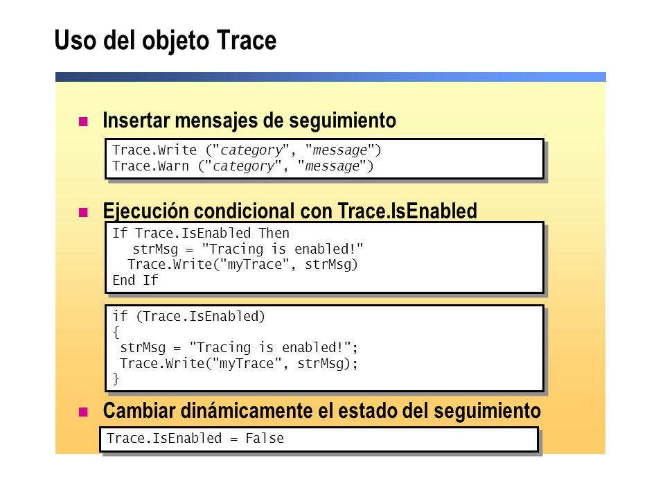 Insertar mensajes de seguimiento Ejecución condicional con Trace.IsEnabled Cambiar dinámicamente el estado del seguimiento Uso del objeto Trace Trace.