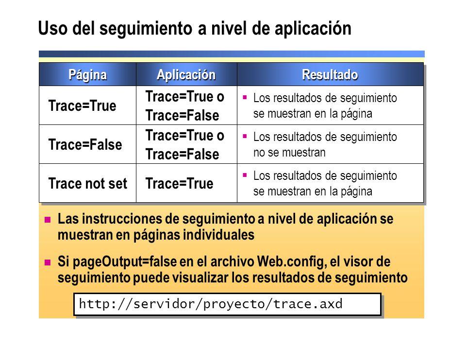 Uso del seguimiento a nivel de aplicación Las instrucciones de seguimiento a nivel de aplicación se muestran en páginas individuales Si pageOutput=fal