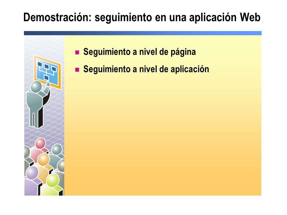 Seguimiento en un componente Importar la biblioteca System.Web Habilitar el seguimiento Invocar los métodos Trace HttpContext.Current.Trace.IsEnabled = True Imports System.Web HttpContext.Current.Trace.Write _ ( component , this is my trace statement ) HttpContext.Current.Trace.Write _ ( component , this is my trace statement ) using System.Web; HttpContext.Current.Trace.IsEnabled = true; HttpContext.Current.Trace.Write ( component , this is my trace statement ); HttpContext.Current.Trace.Write ( component , this is my trace statement );