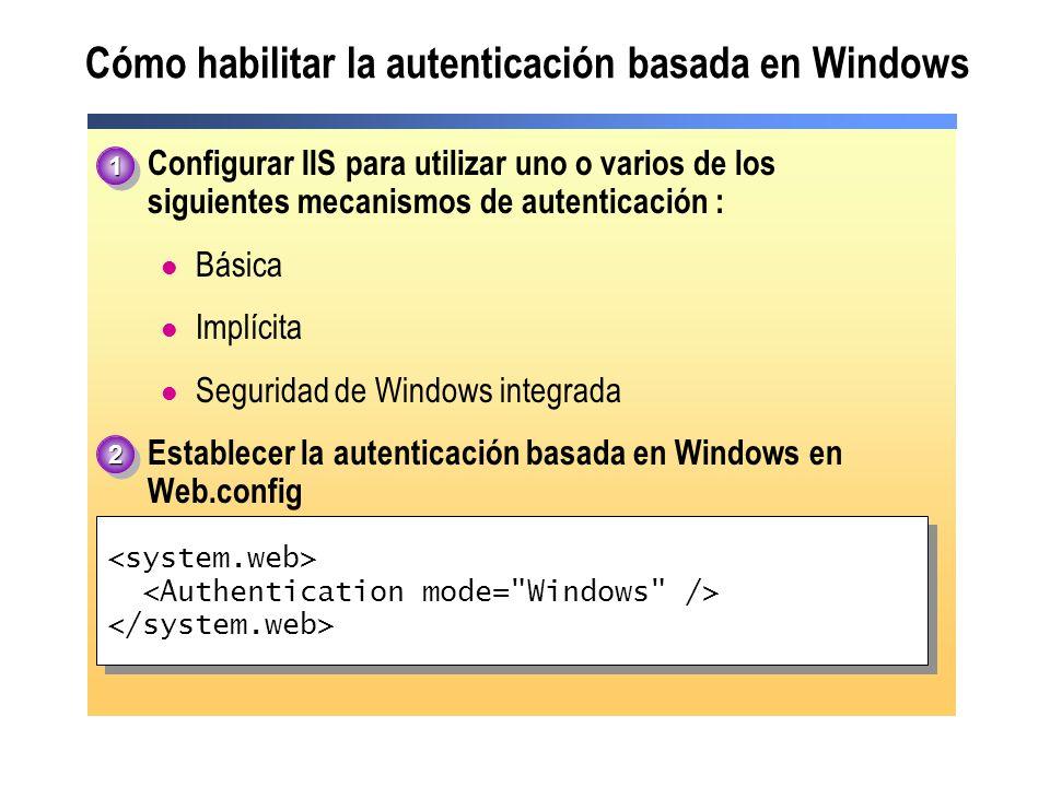 Cómo habilitar la autenticación basada en Windows Configurar IIS para utilizar uno o varios de los siguientes mecanismos de autenticación : Básica Imp