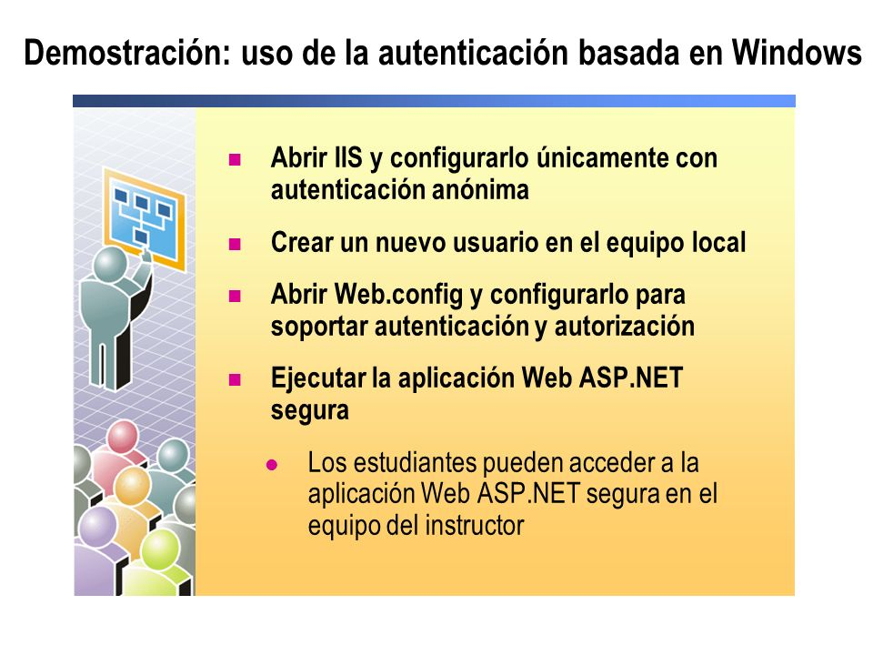 Demostración: uso de la autenticación basada en Windows Abrir IIS y configurarlo únicamente con autenticación anónima Crear un nuevo usuario en el equ