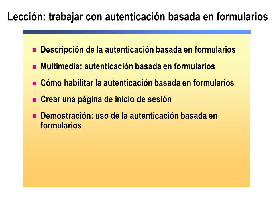 Lección: trabajar con autenticación basada en formularios Descripción de la autenticación basada en formularios Multimedia: autenticación basada en fo