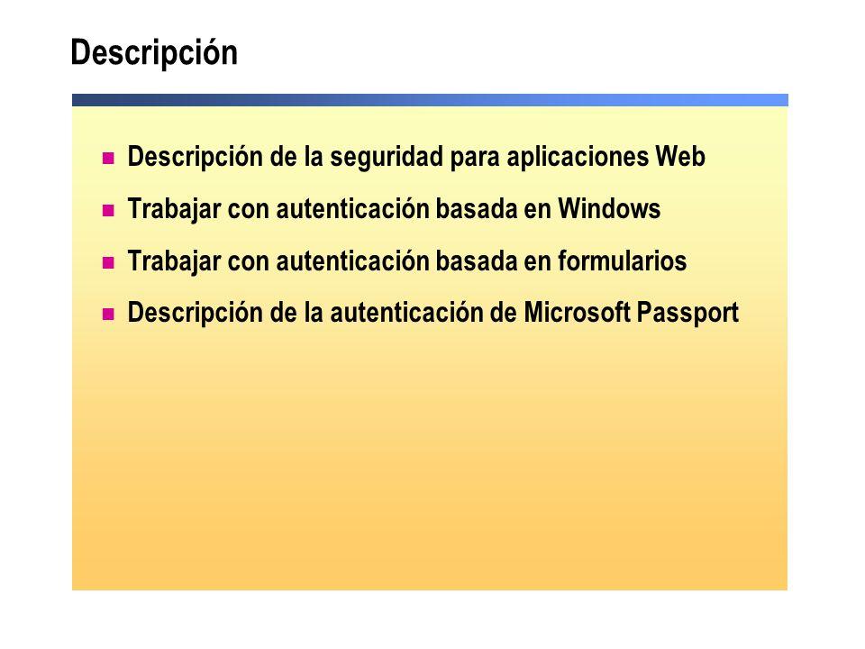 Descripción Descripción de la seguridad para aplicaciones Web Trabajar con autenticación basada en Windows Trabajar con autenticación basada en formul
