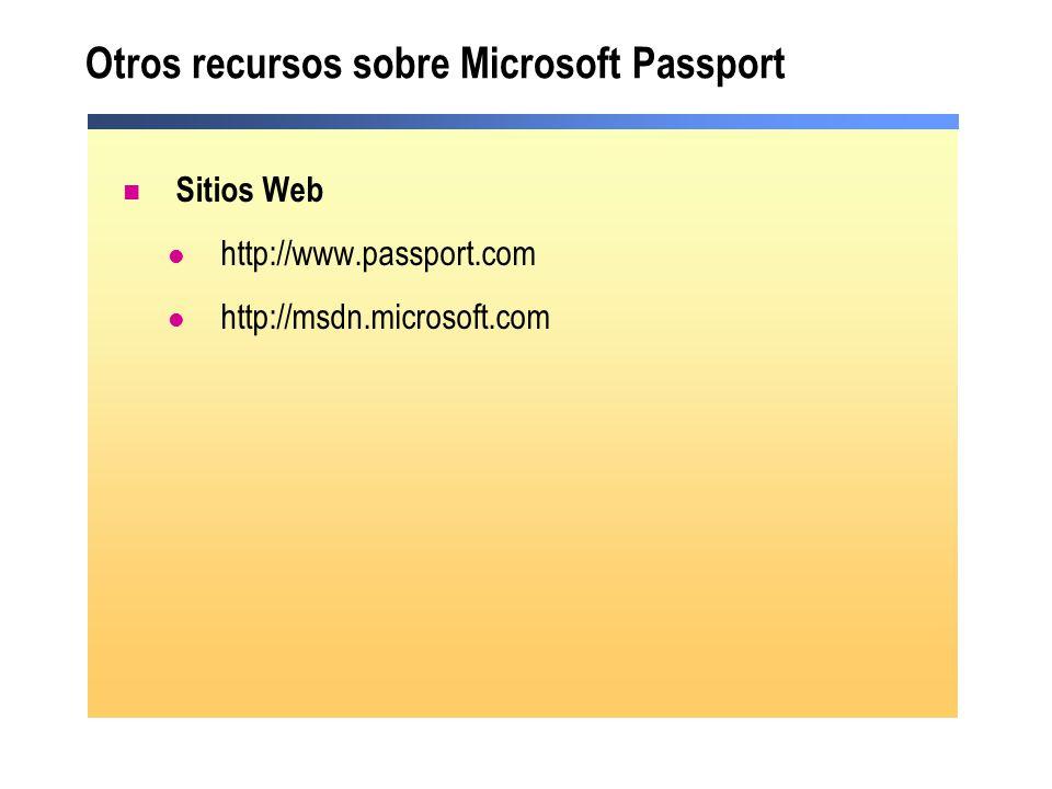 Otros recursos sobre Microsoft Passport Sitios Web http://www.passport.com http://msdn.microsoft.com