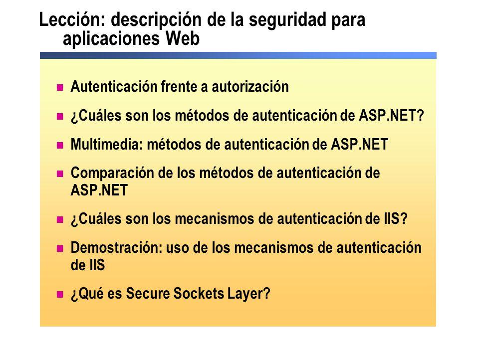 Lección: descripción de la seguridad para aplicaciones Web Autenticación frente a autorización ¿Cuáles son los métodos de autenticación de ASP.NET? Mu