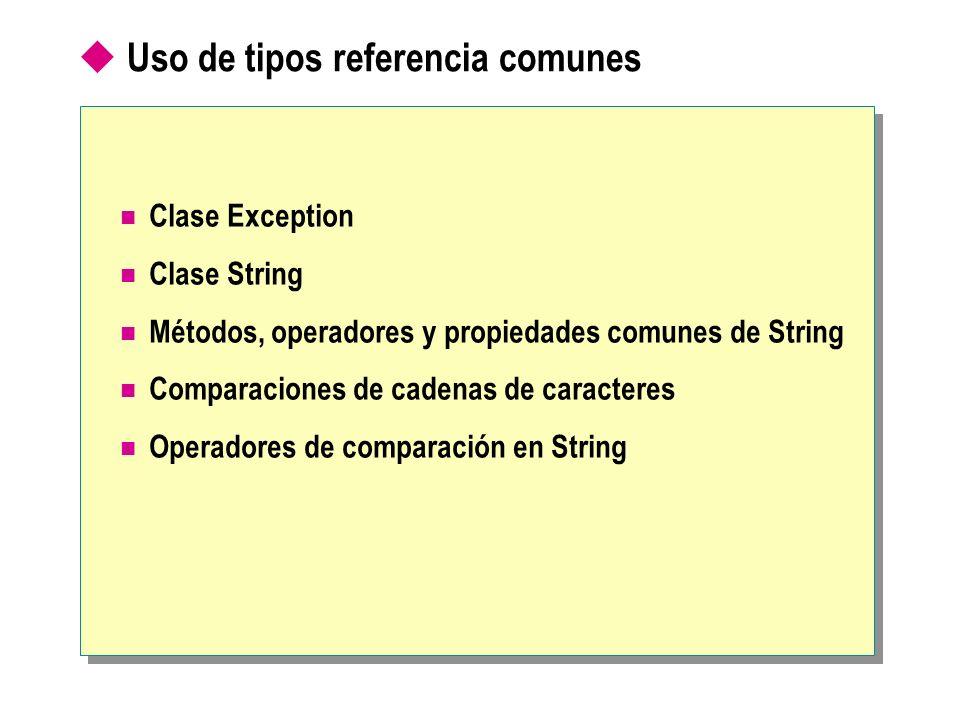 Uso de tipos referencia comunes Clase Exception Clase String Métodos, operadores y propiedades comunes de String Comparaciones de cadenas de caractere