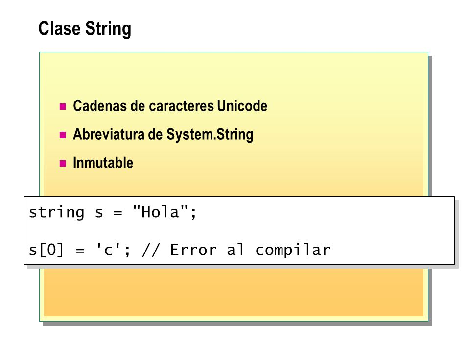 Clase String Cadenas de caracteres Unicode Abreviatura de System.String Inmutable string s =