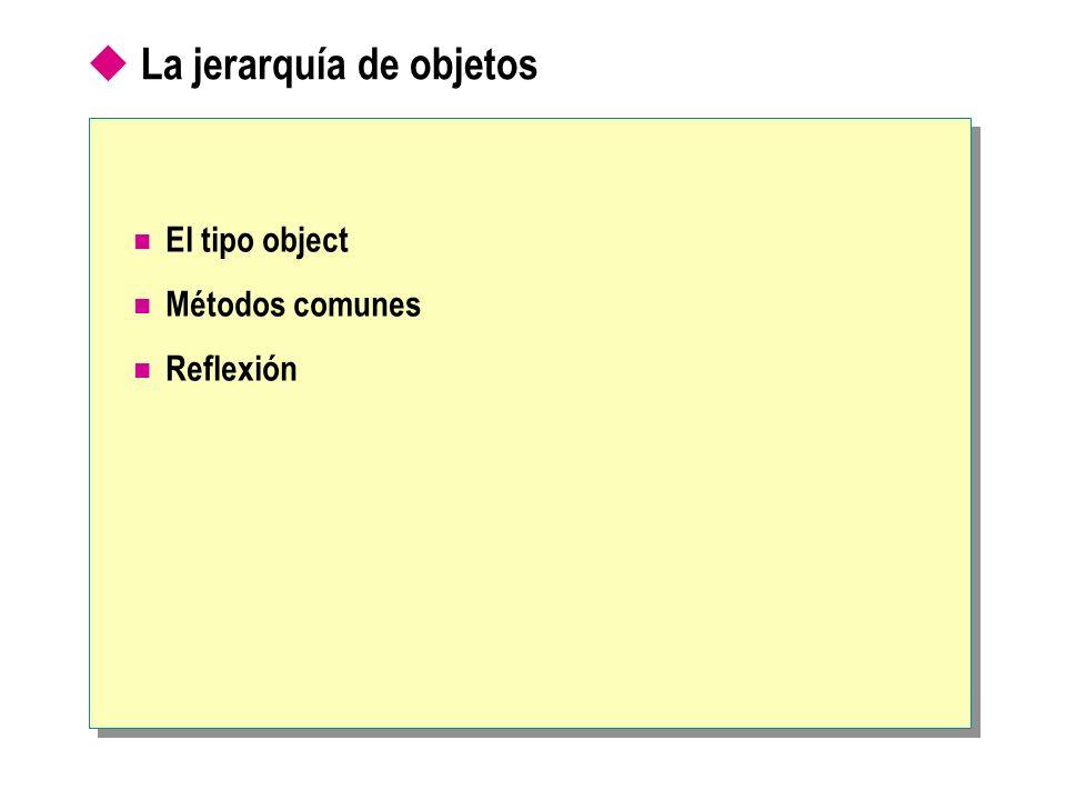 La jerarquía de objetos El tipo object Métodos comunes Reflexión
