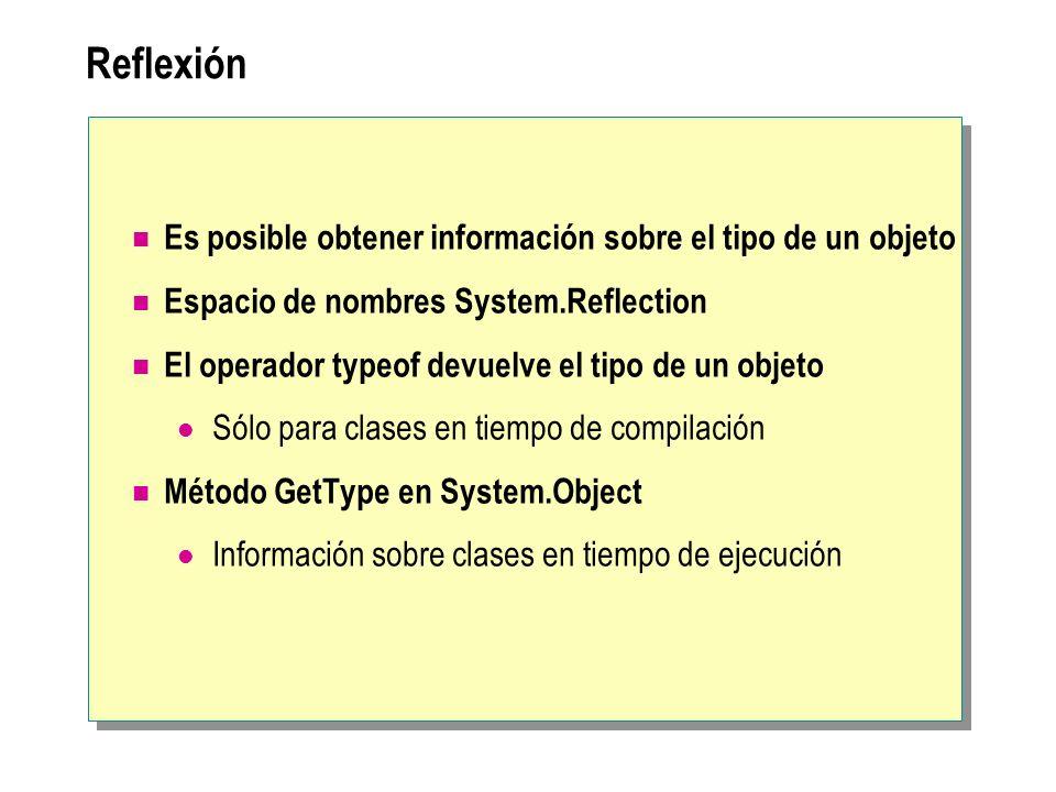 Reflexión Es posible obtener información sobre el tipo de un objeto Espacio de nombres System.Reflection El operador typeof devuelve el tipo de un obj