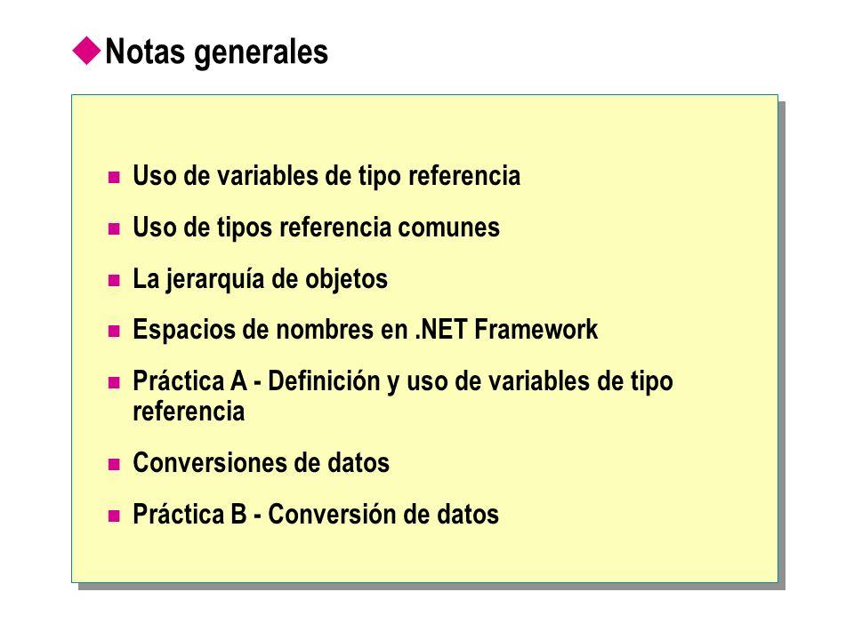 Notas generales Uso de variables de tipo referencia Uso de tipos referencia comunes La jerarquía de objetos Espacios de nombres en.NET Framework Práct