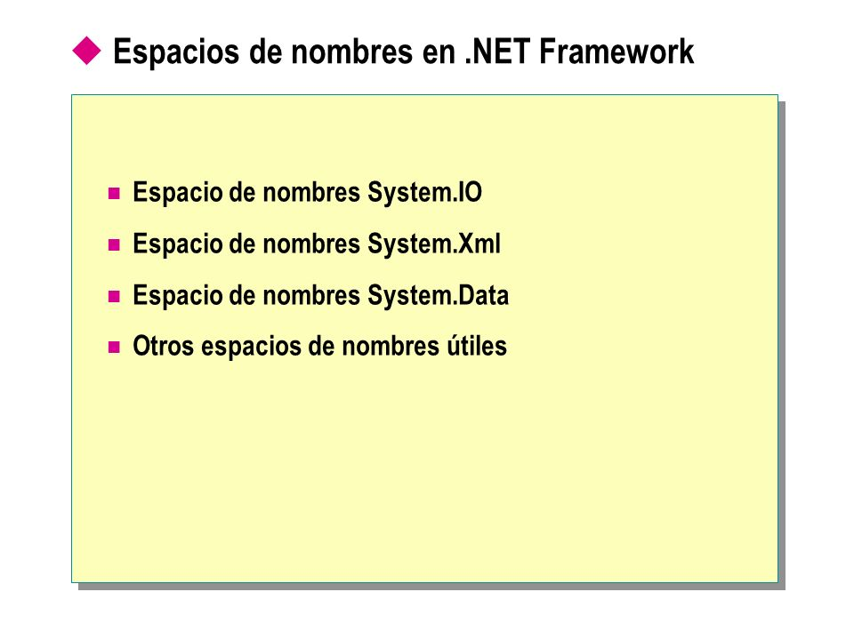 Espacios de nombres en.NET Framework Espacio de nombres System.IO Espacio de nombres System.Xml Espacio de nombres System.Data Otros espacios de nombr