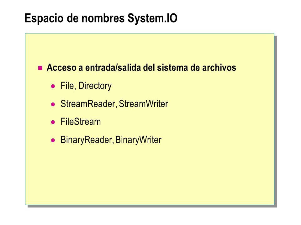 Espacio de nombres System.IO Acceso a entrada/salida del sistema de archivos File, Directory StreamReader, StreamWriter FileStream BinaryReader, Binar