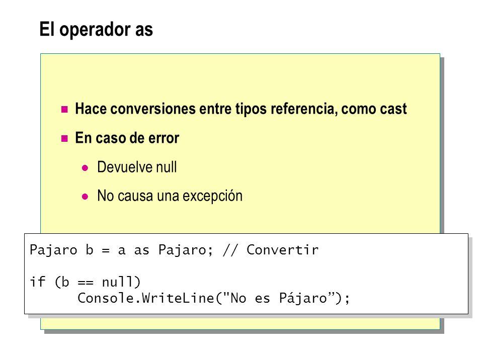 El operador as Hace conversiones entre tipos referencia, como cast En caso de error Devuelve null No causa una excepción Pajaro b = a as Pajaro; // Co