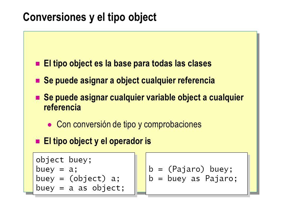 Conversiones y el tipo object El tipo object es la base para todas las clases Se puede asignar a object cualquier referencia Se puede asignar cualquie