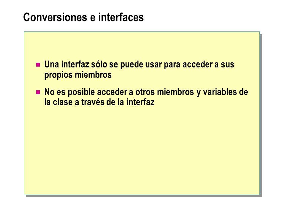Conversiones e interfaces Una interfaz sólo se puede usar para acceder a sus propios miembros No es posible acceder a otros miembros y variables de la