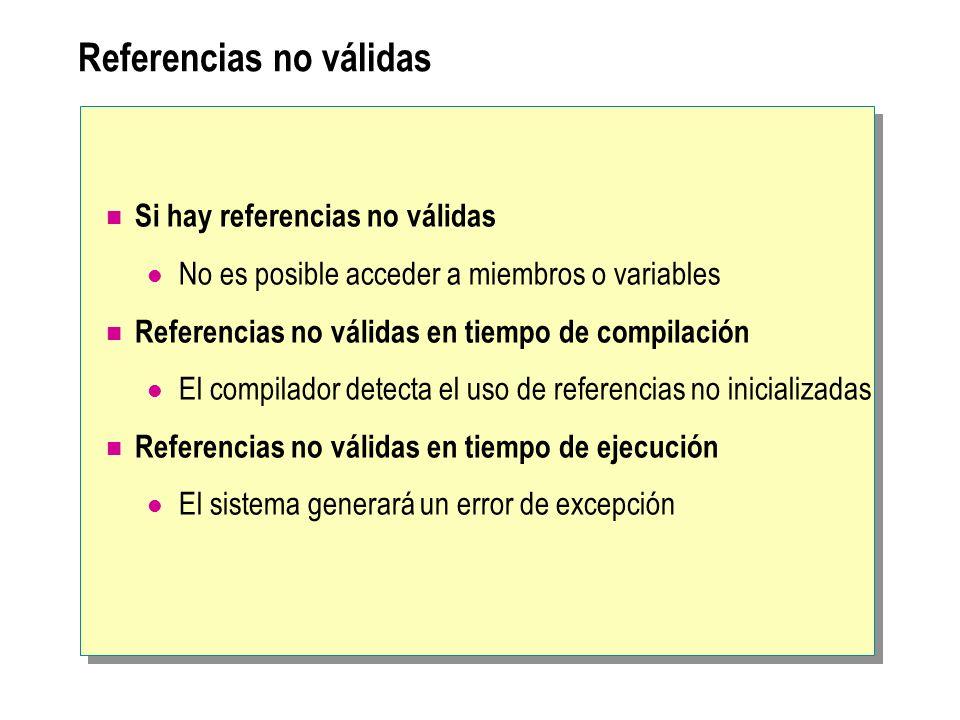 Referencias no válidas Si hay referencias no válidas No es posible acceder a miembros o variables Referencias no válidas en tiempo de compilación El c