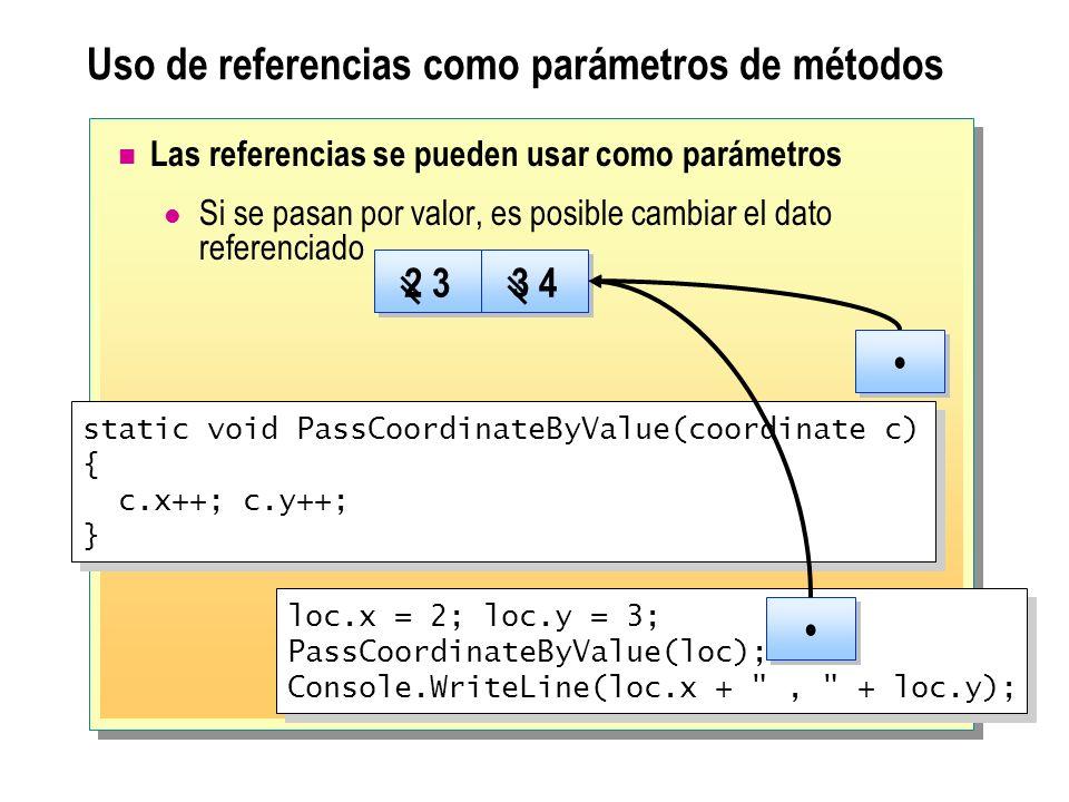 Uso de referencias como parámetros de métodos Las referencias se pueden usar como parámetros Si se pasan por valor, es posible cambiar el dato referen