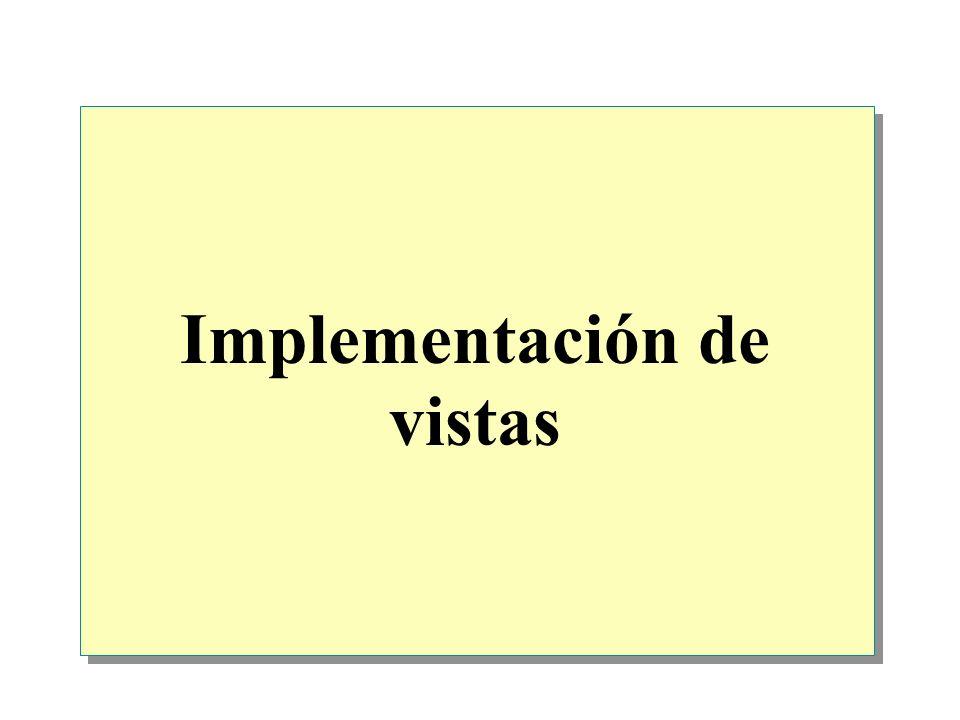Introducción Introducción a las vistas Ventajas de las vistas Definición de vistas Modificación de datos mediante vistas Optimización del rendimiento mediante vistas Práctica: Implementación de vistas