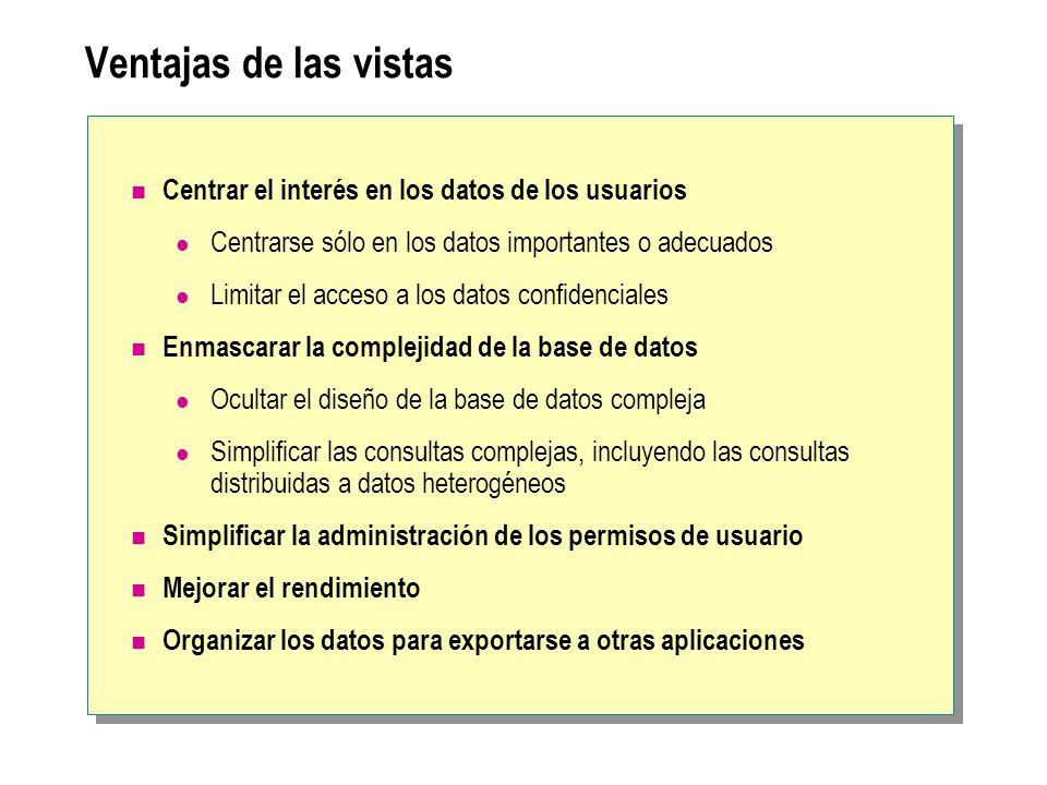 Definición de vistas Creación de vistas Ejemplo: Vista de tablas combinadas Modificación y eliminación de vistas Evitar la interrupción de las cadenas de pertenencia Ubicación de la información de definición de vistas Ocultación de la definición de las vistas